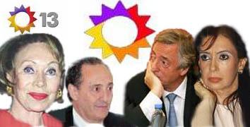 Ernestina Noble (dueña de Clarín), Héctor Magnetto (CEO de Clarín), Néstor y Cristina Kirchner