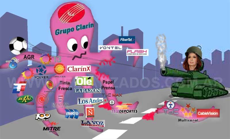 El Grupo Clarin concentra la mayor cantidad de medios de comunicación de Argentina