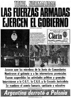 Tapa Clarín del 25 de marzo de 1976