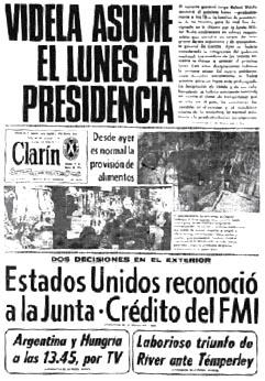Tapa Clarín del 27 de marzo de 1976