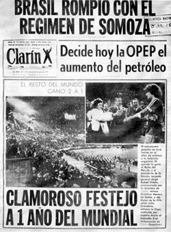 Tapa Clarín del 26 de junio de 1979