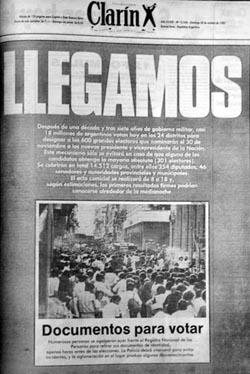 Tapa Clarín del 30 de octubre de 1983